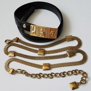 Accessories - Leather Unicorn/Dragon + Gold Mesh Chain Belt